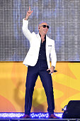 Rapper Pitbull performs on ABC's 'Good Morning America' at Rumsey Playfield Central Park on June 3 2016 in New York City