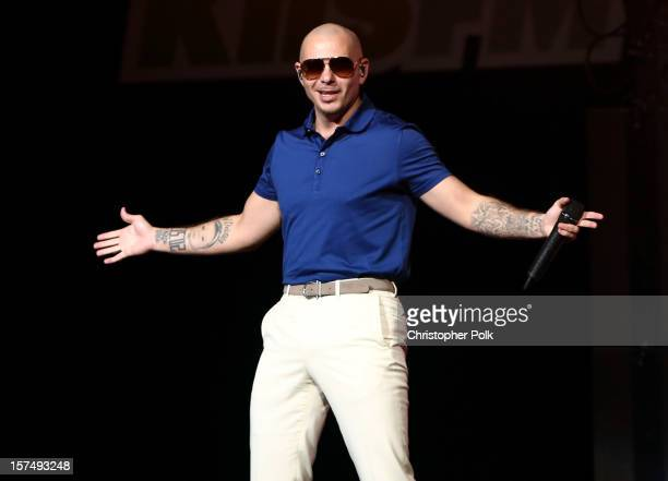 Rapper Pitbull performs onstage during KIIS FM's 2012 Jingle Ball at Nokia Theatre LA Live on December 3 2012 in Los Angeles California
