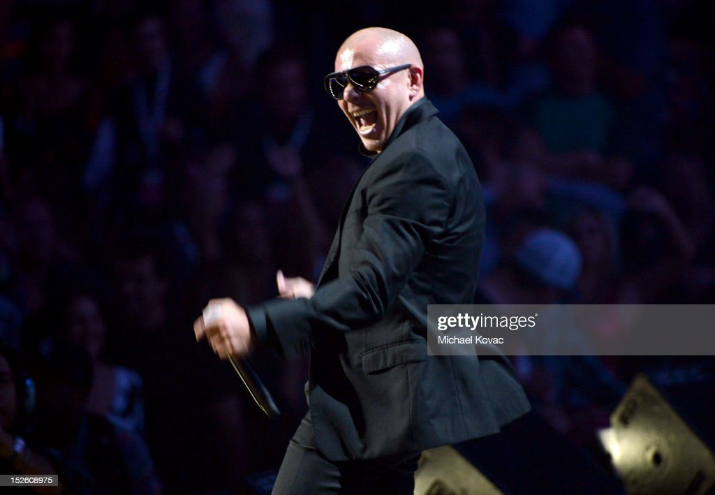 Rapper Pitbull performs onstage during the 2012 iHeartRadio Music Festival at the MGM Grand Garden Arena on September 22, 2012 in Las Vegas, Nevada.