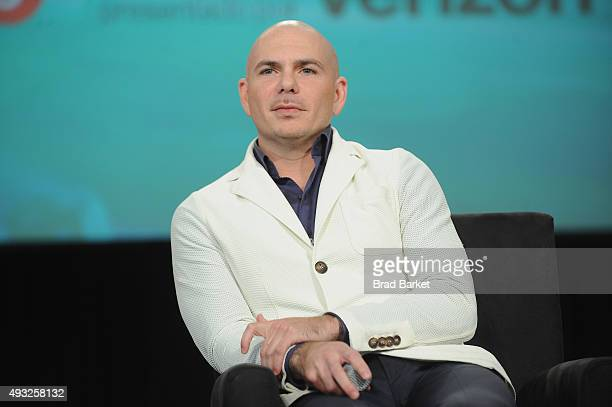 Rapper Pitbull speaks onstage during Festival PEOPLE En Espanol 2015 presented by Verizon at Jacob Javitz Center on October 18 2015 in New York City