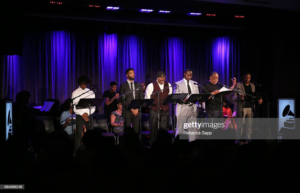 Rapper PJ Buckner actor Reign Morton actor Keith David actor Dohn Norwood actor Barry Shabaka Henley and actor Dorian Missick perform at A Tribute To...
