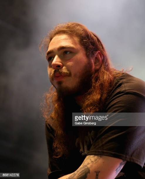 Rapper Post Malone performs at Brooklyn Bowl Las Vegas on October 5 2017 in Las Vegas Nevada