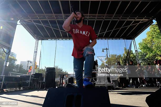 Rapper Post Malone performs on stage during 2015 Budweiser Made in America festival at Benjamin Franklin Parkway on September 6 2015 in Philadelphia...