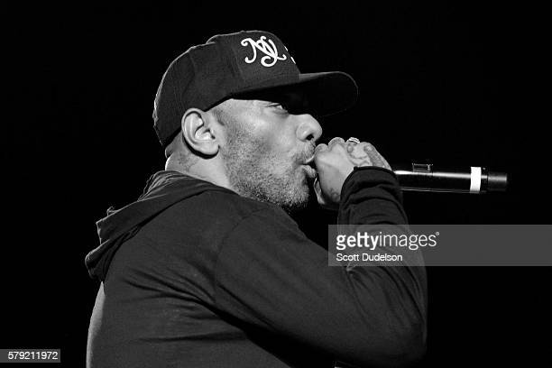 Rapper Prodigy of the hip hop duo Mobb Deep performs onstage at the Art of Rap festival at Hollywood Palladium on July 22 2016 in Los Angeles...