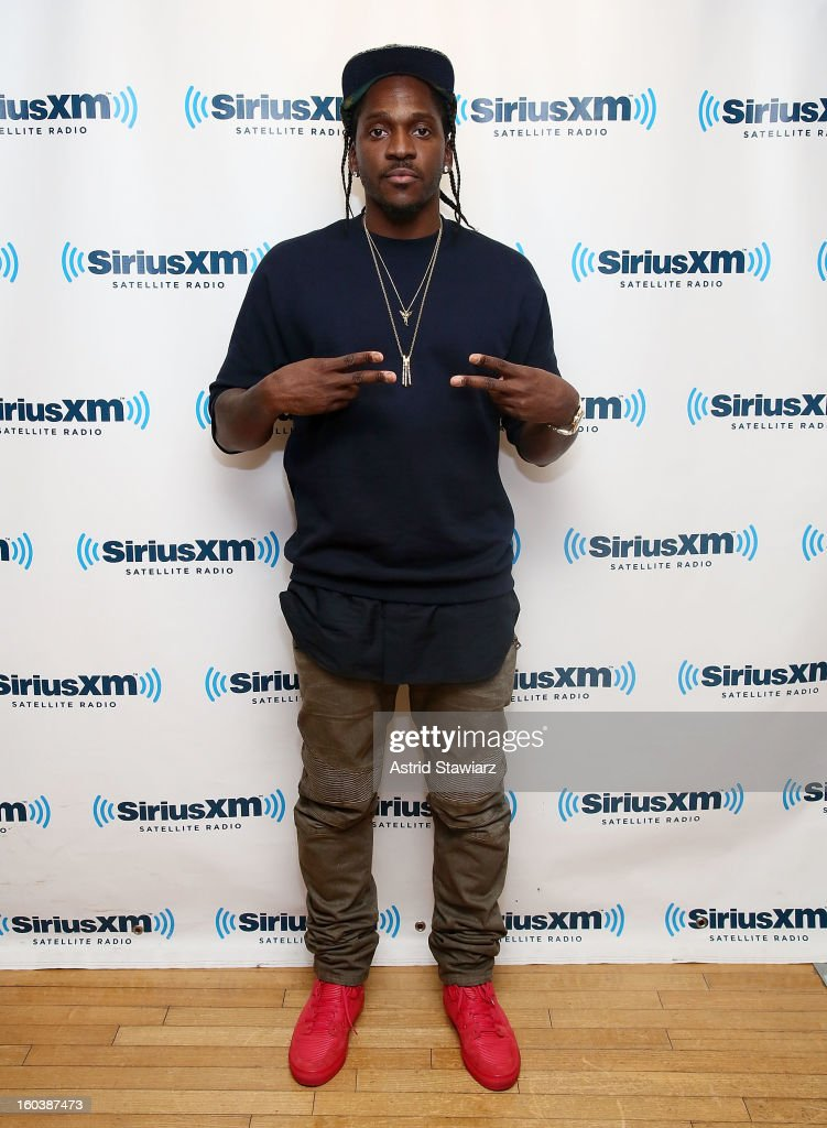 Rapper <a gi-track='captionPersonalityLinkClicked' href=/galleries/search?phrase=Pusha+T&family=editorial&specificpeople=3994271 ng-click='$event.stopPropagation()'>Pusha T</a> visits 'Sway in the Morning' on Eminem's Shade 45 channel at SiriusXM Studios on January 30, 2013 in New York City.