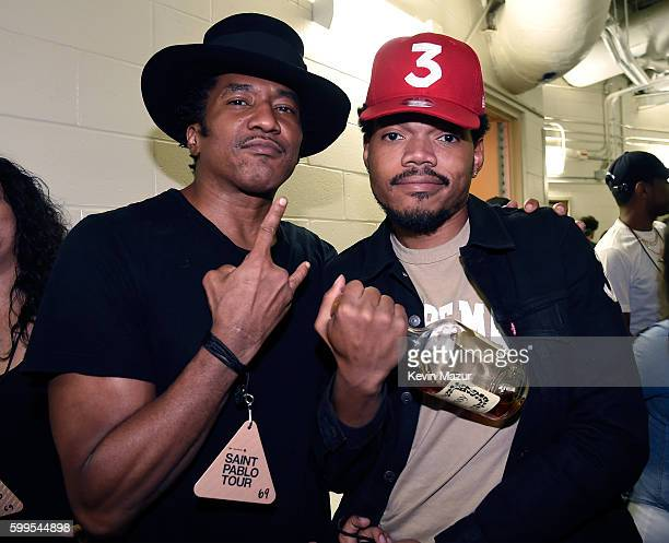 Rapper QTip and Chance the Rapper pose backstage during Kanye West The Saint Pablo Tour at Madison Square Garden on September 5 2016 in New York City