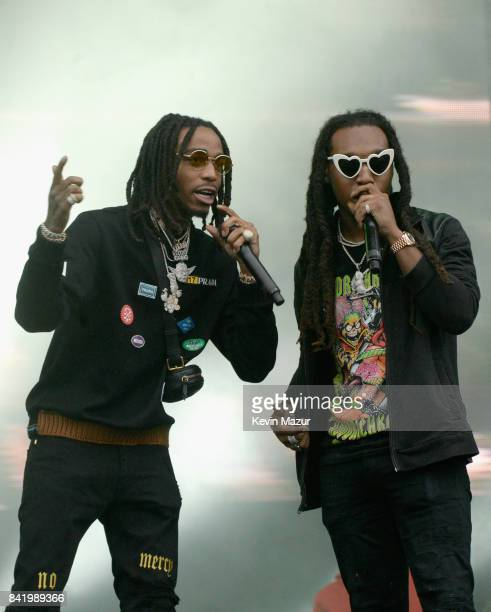 Rapper Quavo and Takeoff of Migos perform onstage during the 2017 Budweiser Made in America festival Day 1 at Benjamin Franklin Parkway on September...