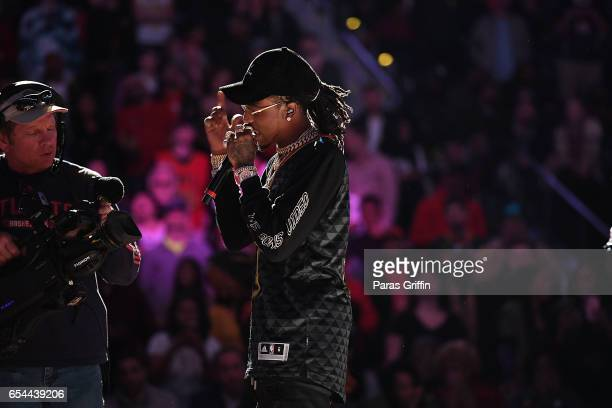 Rapper Quavo of Migos performs in a post game concert after Memphis Grizzles Vs Atlanta Hawks Game at Phillips Arena on March 16 2017 in Atlanta...