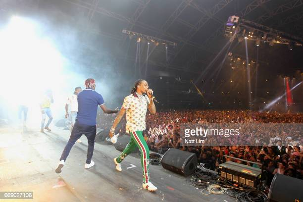 Rapper Quavo of Migos performs on the Sahara Stage during day 2 of the Coachella Valley Music And Arts Festival at the Empire Polo Club on April 14...