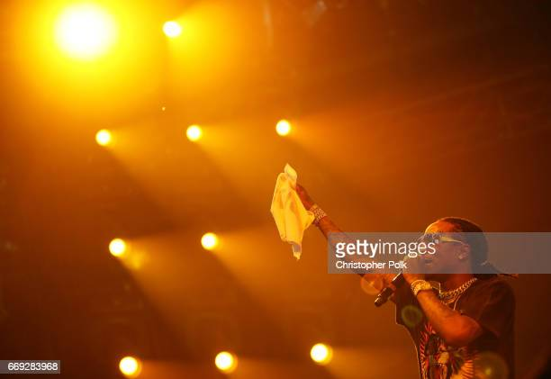 Rapper Quavo of Migos performs on the Sahara stage during day 3 of the Coachella Valley Music And Arts Festival at the Empire Polo Club on April 16...