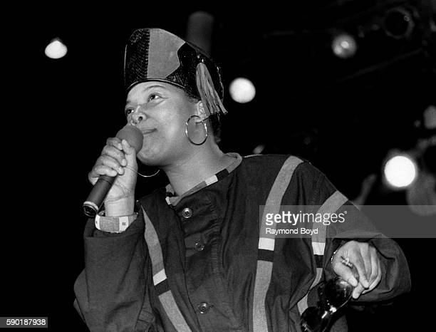Rapper and actress Queen Latifah performs at the UIC Pavilion in Chicago Illinois in January 1990