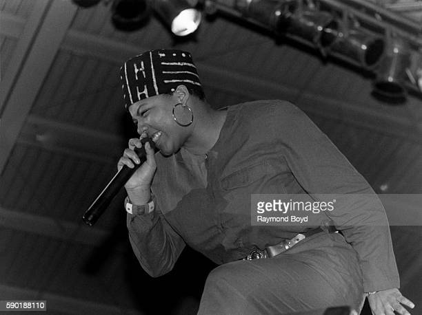 Rapper and actress Queen Latifah performs at the UIC Pavilion in Chicago Illinois in January 1989