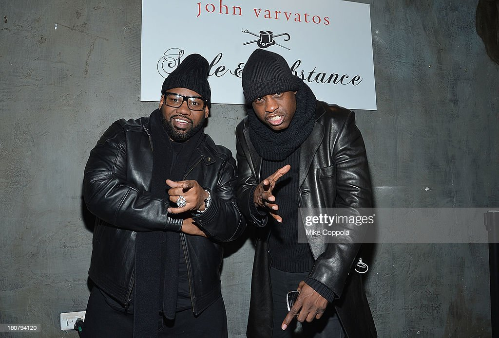 Rapper <a gi-track='captionPersonalityLinkClicked' href=/galleries/search?phrase=Raekwon&family=editorial&specificpeople=798556 ng-click='$event.stopPropagation()'>Raekwon</a> (L) poses for a picture as he Celebrates The New JohnVarvatos.com on February 5, 2013 in New York City.
