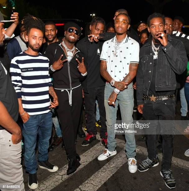 Rapper Ralo Travis Scott Quavo and Takeoff attend Travis Scott After Party at Medusa Lounge on July 18 2017 in Atlanta Georgia