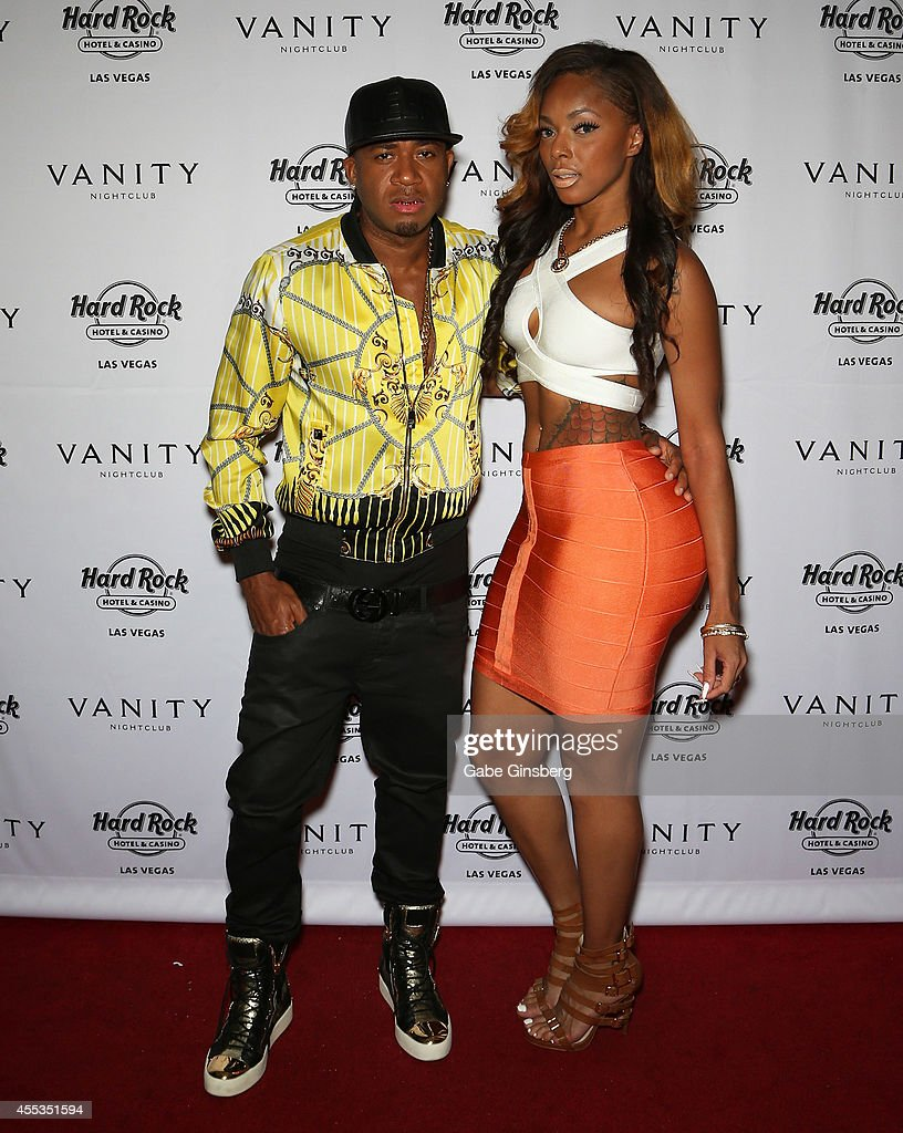 Rapper Red Cafe and Tamra Kennedy arrive at the Vanity Nightclub at the Hard Rock Hotel Casino on September 12 2014 in Las Vegas Nevada