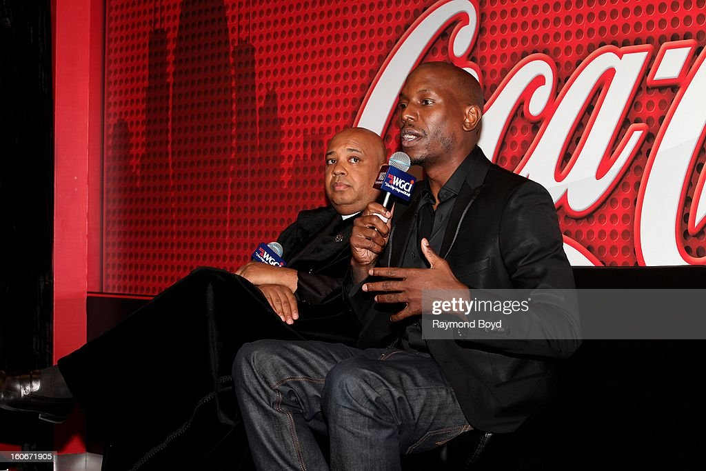 Rapper Rev. Run of Run DMC and singer Tyrese Gibson, discusses their book 'MANOLOGY: Secrets of Your Man's Mind Revealed' in the WGCI-FM 'Coca-Cola Lounge' in Chicago, Illinois on JANAURY