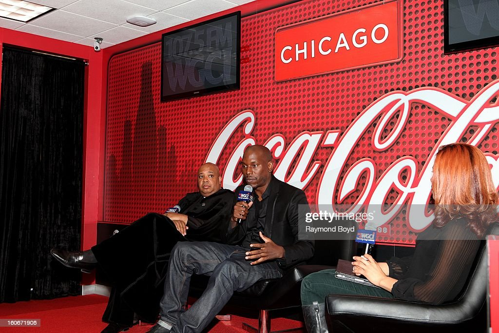 Rapper Rev. Run of Run DMC and singer Tyrese Gibson, is interviewed by on-air personality Consuella 'Connie' Williams about their book, 'MANOLOGY: Secrets of Your Man's Mind Revealed' in the WGCI-FM 'Coca-Cola Lounge' in Chicago, Illinois on JANAURY
