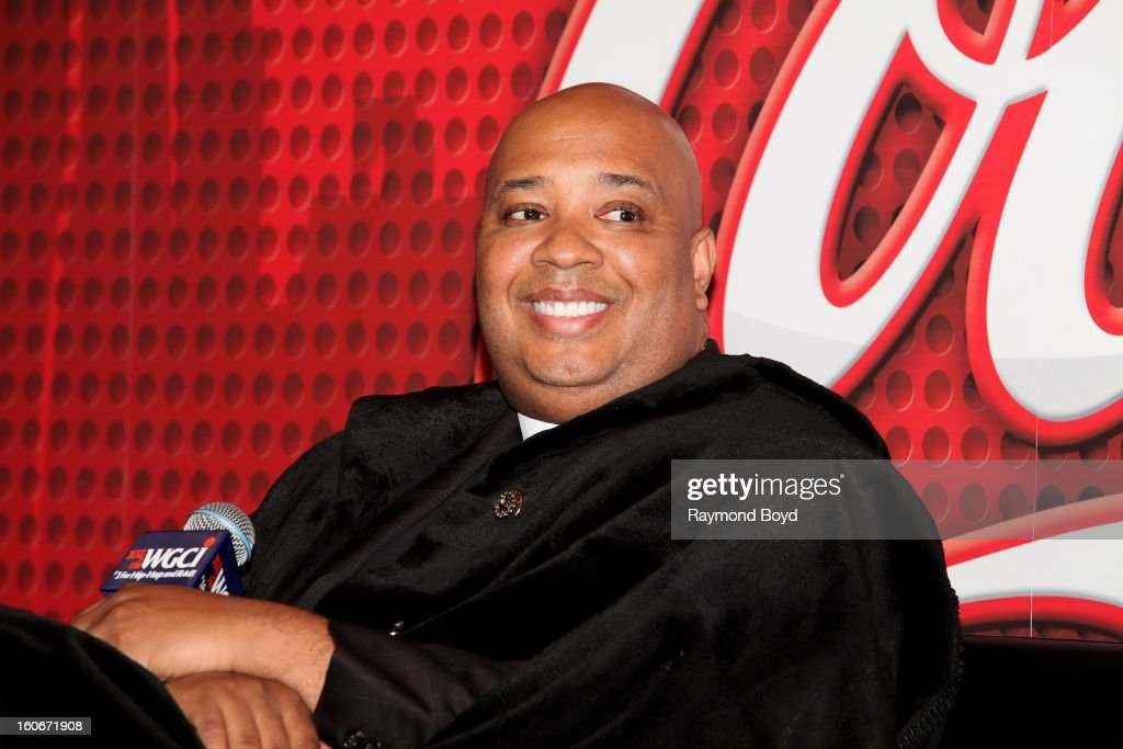 Rapper Rev. Run of Run DMC, discusses his book 'MANOLOGY: Secrets of Your Man's Mind Revealed' in the WGCI-FM 'Coca-Cola Lounge' in Chicago, Illinois on JANAURY