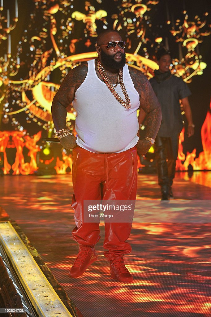 Rapper Rick Ross performs at BET's Rip The Runway 2013:Show at Hammerstein Ballroom on February 27, 2013 in New York City.