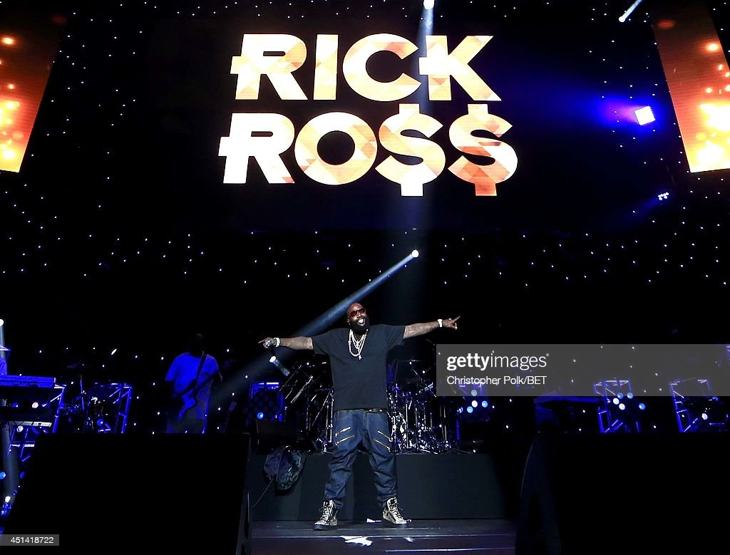 Rapper Rick Ross performs onstage at the OutKast, A$AP Rocky, Rick Ross, K. Michelle, August Alsina & Ty Dolla $ign Presented By Sprite during the 2014 BET Experience At L.A. LIVE on June 28, 2014 in Los Angeles, California.