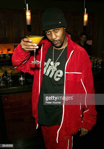 Rapper RZA gestures as he attends a special screening and after party for 'Kill Bill Vol 2' sponsored by Gran Centenario April 12 2004 in New York...