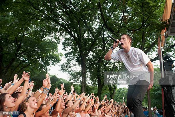 Rapper Samuel Adams Wisner aka Sam Adams performs on the BMI Stage during 2011 Lollapalooza at Grant Park on August 7 2011 in Chicago Illinois
