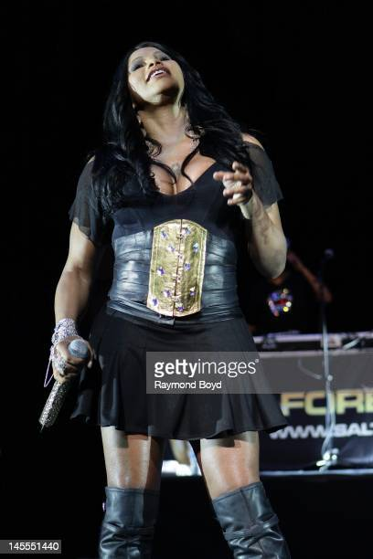 Rapper Sandra 'Pepa' Denton of rap group SaltNPepa performs at the Arie Crown Theater in Chicago Illinois on MARCH 19 2011