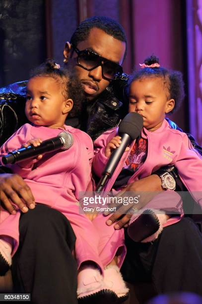 Rapper Sean 'Diddy' Combs with his children D'Lila Star Combs and Jessie James Combs are seen taping MTV's 'Making The Band 4' season finale event at...