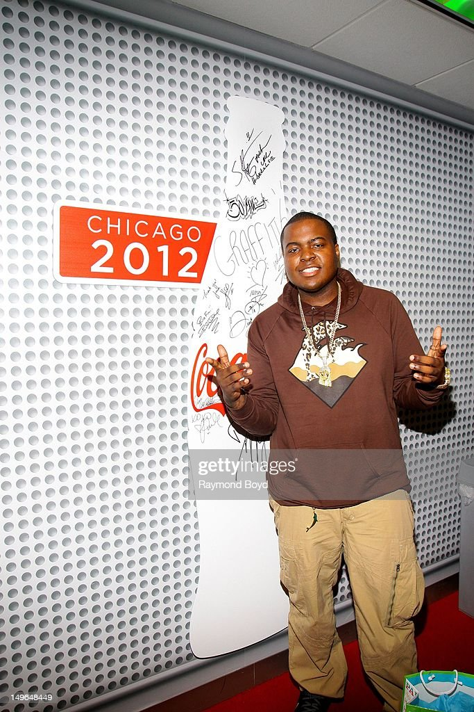 Rapper Sean Kingston poses for photos in the KISSFM 'CocaCola Lounge' in Chicago Illinois on JULY 23 2012