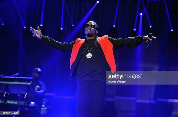 Rapper Sean 'Puff Daddy' Combs performs onstage at the 2015 iHeartRadio Music Festival at MGM Grand Garden Arena on September 19 2015 in Las Vegas...