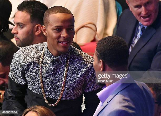 Rapper Shad 'Bow Wow' Moss talks to boxer Shawn Porter before the WBC/WBA welterweight title fight bewtween Floyd Mayweather Jr and Andre Berto at...