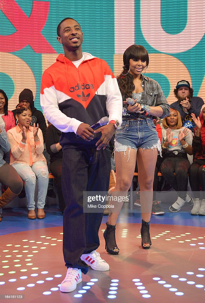 Rapper Shorty da Prince (L) and Actress Paigion co-host BET's 106th & Park show at 106 & Park Studio on March 20, 2013 in New York City.