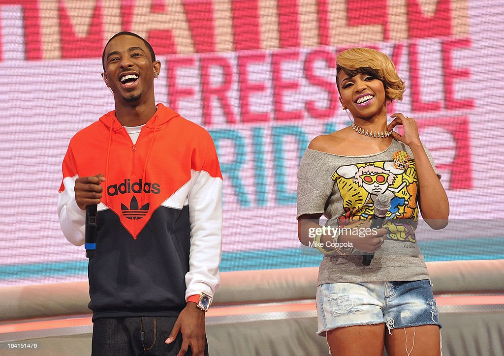 Rapper Shorty da Prince (L) and television personality Miss Mykie co-host BET's 106th & Park show at 106 & Park Studio on March 20, 2013 in New York City.