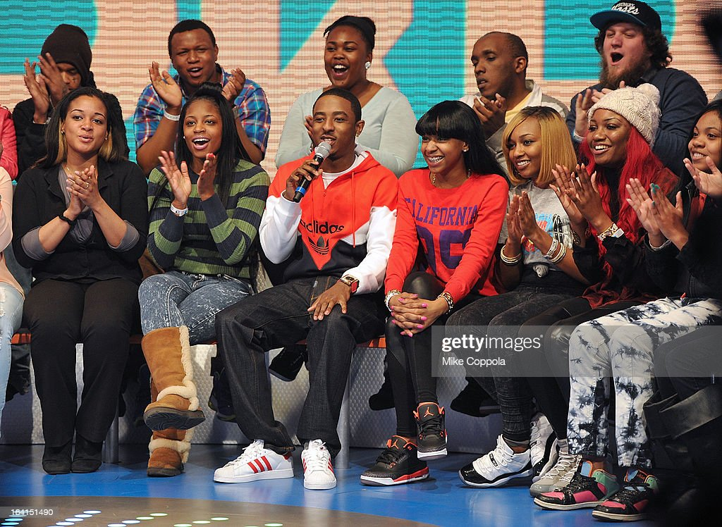 Rapper Shorty da Prince (C) co-host BET's 106th & Park show at 106 & Park Studio on March 20, 2013 in New York City.