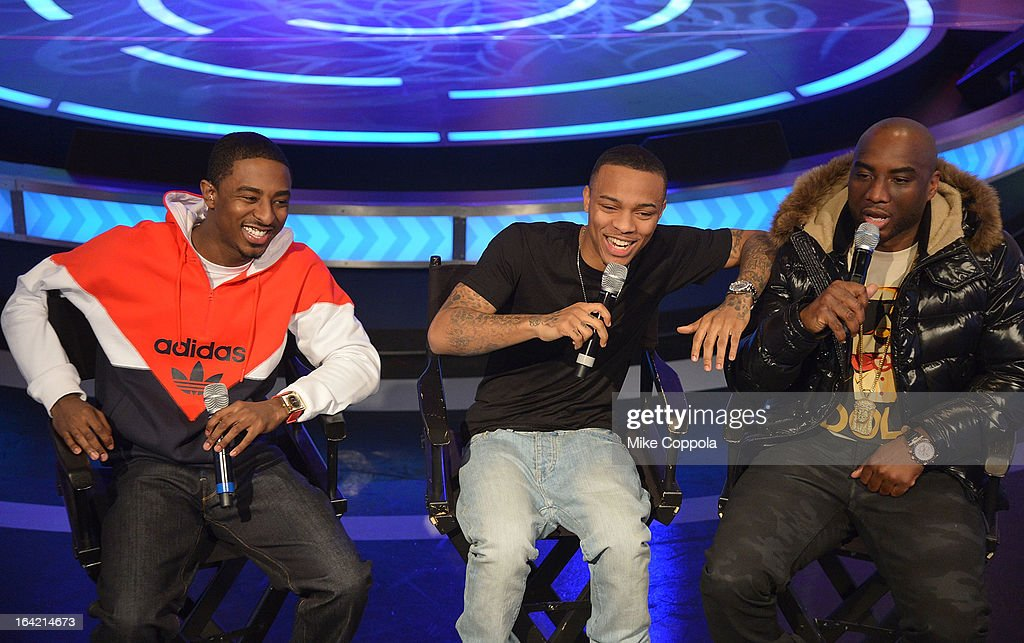 Rapper Shorty da Prince, rapper Bow Wow, and radio personality Charlemagne co-host BET's 106th & Park show at 106 & Park Studio on March 20, 2013 in New York City.