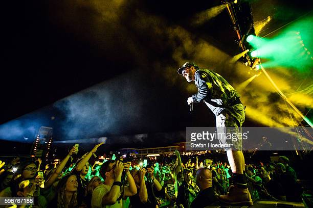 Rapper Sido performs live on stage during 'Die Neuen Deutschpoeten Open Air Festival' at IFA Sommergarten on September 2 2016 in Berlin Germany