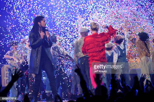 Rapper Skip Marley and singer Katy Perry perform onstage at the 2017 iHeartRadio Music Awards which broadcast live on Turner's TBS TNT and truTV at...