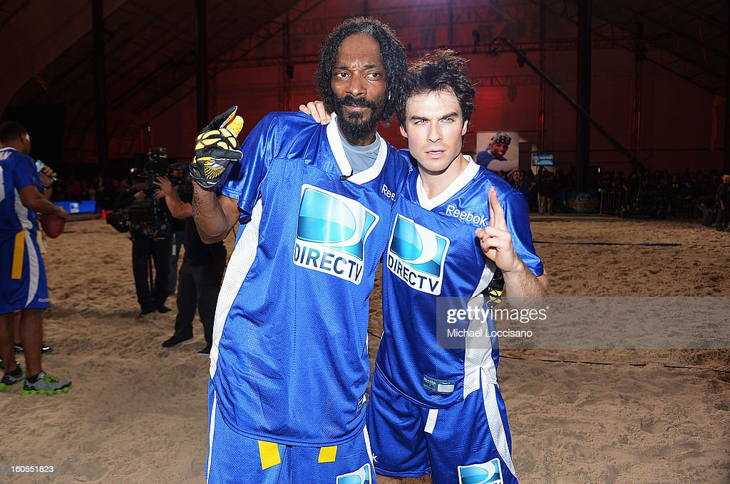 Rapper Snoop Dogg (L) and actor Ian Somerhalder attend DIRECTV'S Seventh Annual Celebrity Beach Bowl at DTV SuperFan Stadium at Mardi Gras World on February 2, 2013 in New Orleans, Louisiana.