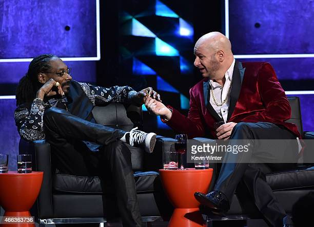 Rapper Snoop Dogg and comedian Jeff Ross onstage at The Comedy Central Roast of Justin Bieber at Sony Pictures Studios on March 14 2015 in Los...