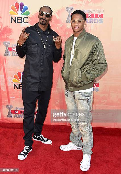 Rapper Snoop Dogg and son Cordell Broadus arrive at the 2015 iHeartRadio Music Awards at The Shrine Auditorium on March 29 2015 in Los Angeles...