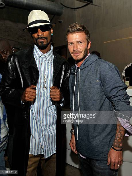Rapper Snoop Dogg and sportsman David Beckham attend the adidas Originals by Originals David Beckham by James Bond Collection Launch held at adidas...