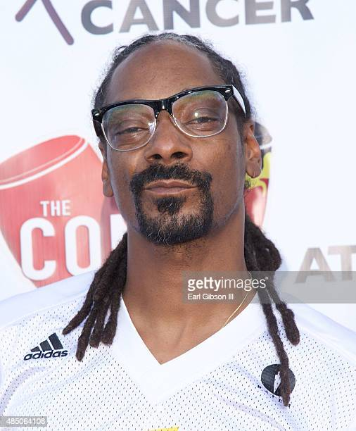 Rapper Snoop Dogg attends Matt Barnes 'Athletes Vs Cancer Celebrity Flag Football Game at UCLA's Drake Stadium on August 23 2015 in Westwood...