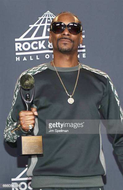 2017 Rapper Snoop Dogg attends the Press Room of the 32nd Annual Rock Roll Hall Of Fame Induction Ceremony at Barclays Center on April 7 2017 in New...