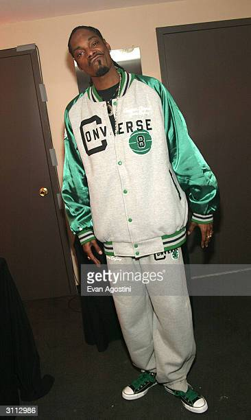 Rapper Snoop Dogg poses backstage at the Comedy Central Bar Mitzvah Bash in the Hammerstein Ballroom at Manhattan Center Studios March 19 2004 in New...