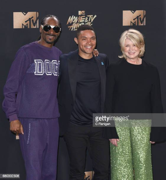 Rapper Snoop Dogg TV personality Trevor Noah and Martha Stewart pose in the press room at the 2017 MTV Movie and TV Awards at The Shrine Auditorium...