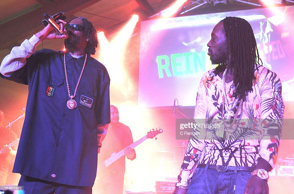 Rapper Snoop Lion aka. <a gi-track='captionPersonalityLinkClicked' href=/galleries/search?phrase=Snoop+Dogg&family=editorial&specificpeople=175943 ng-click='$event.stopPropagation()'>Snoop Dogg</a> and Reggae Artist Mavado perform during LionFest and the 2013 SXSW Music Festival at Viceland on March 14, 2013 in Austin, Texas.