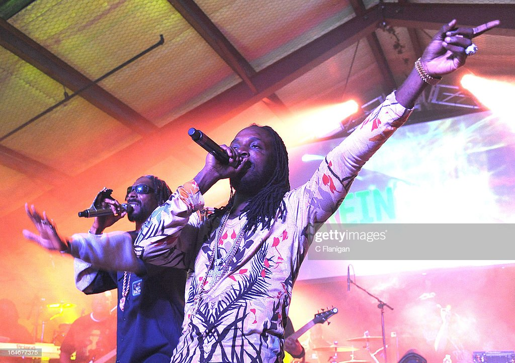 Rapper Snoop Lion aka. Snoop Dogg and Reggae Artist Mavado perform during LionFest and the 2013 SXSW Music Festival at Viceland on March 14, 2013 in Austin, Texas.