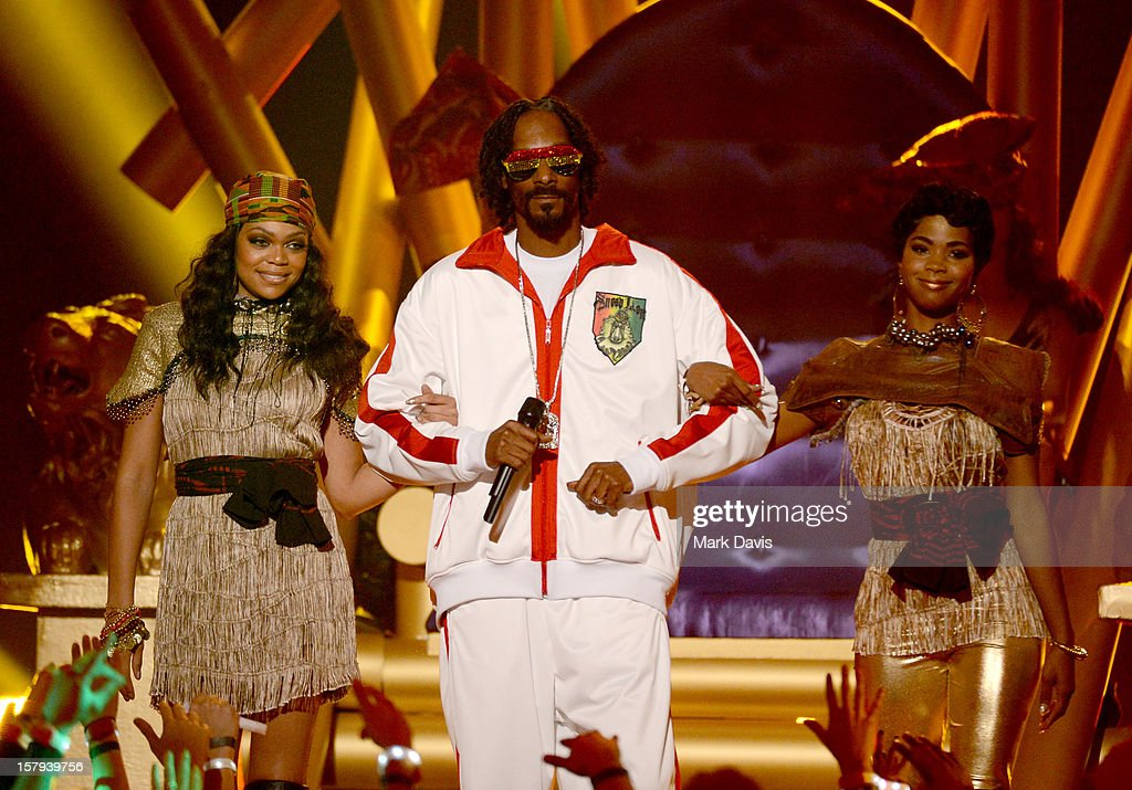 Rapper Snoop Lion (center) onstage during Spike TV's 10th annual Video Game Awards at Sony Studios on December 7, 2012 in Culver City, California.