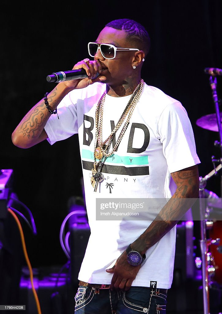 Rapper <a gi-track='captionPersonalityLinkClicked' href=/galleries/search?phrase=Soulja+Boy&family=editorial&specificpeople=4411462 ng-click='$event.stopPropagation()'>Soulja Boy</a> performs during the 2013 America's Most Wanted Musical Festival at Verizon Wireless Amphitheatre on September 1, 2013 in Laguna Hills, California.