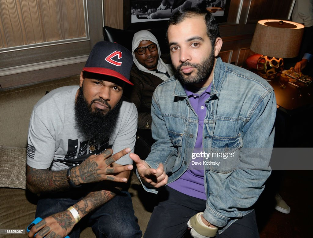 Rapper <a gi-track='captionPersonalityLinkClicked' href=/galleries/search?phrase=Stalley&family=editorial&specificpeople=5838307 ng-click='$event.stopPropagation()'>Stalley</a> (L) and Jayson Rodriguez attend CBS Local Sports' Draft Party on May 8, 2014 in New York City.
